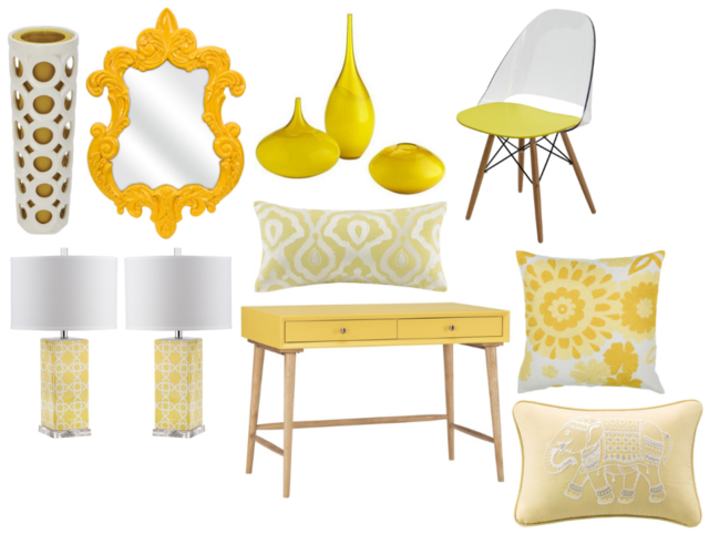 Yellow decor accessories and furnishings